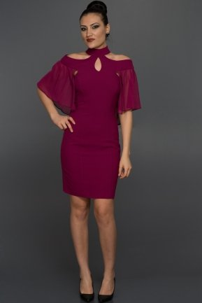 Short Plum Evening Dress W7005
