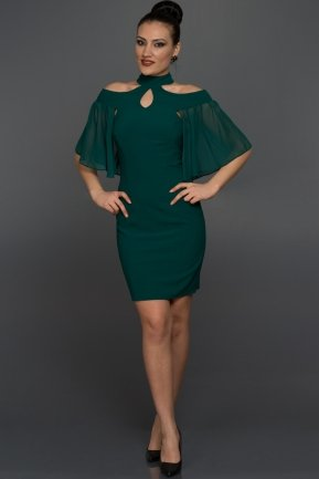 Short Emerald Green Evening Dress W7005
