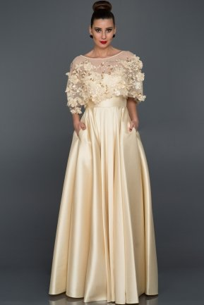 Long Ecru Evening Dress ABU115