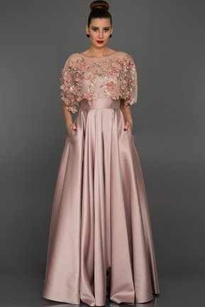 Long Rose Colored Evening Dress ABU115