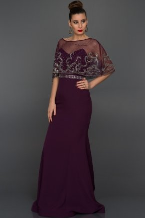 Long Plum Evening Dress S4390