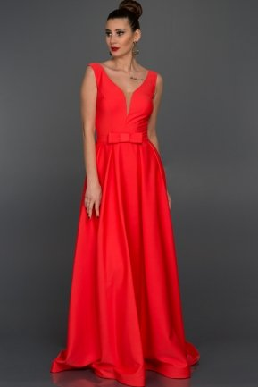 Long Coral Evening Dress S4392