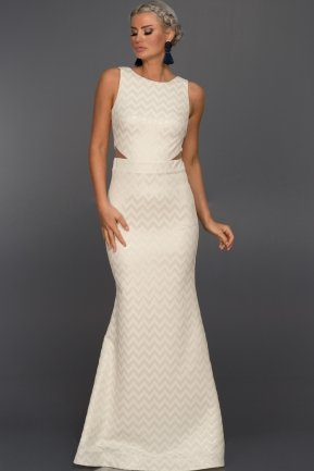 Long Ecru Evening Dress ABU044