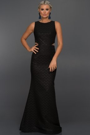 Long Black Evening Dress ABU044