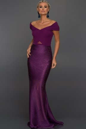 Long Plum Evening Dress F2917