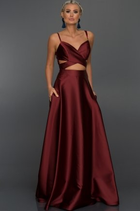 Long Burgundy Evening Dress ST9142