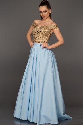 Long Light Blue Evening Dress GG6858