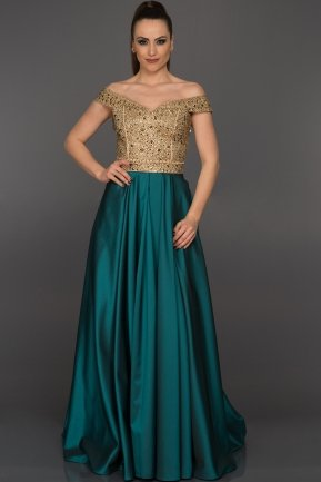 Long Gold-Oil Green Evening Dress GG6858