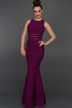 Long Purple Evening Dress W6015