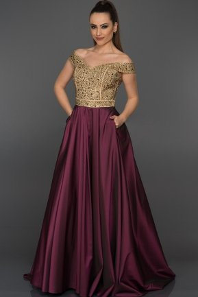 Long Gold-Plum Evening Dress GG6858