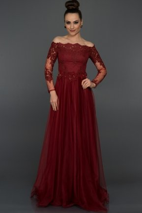 Long Burgundy Princess Evening Dress ABU019