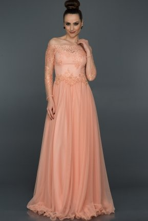 Long Salmon Princess Evening Dress AB621