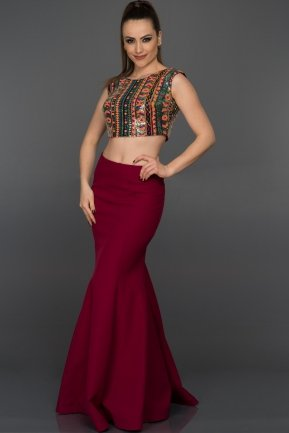 Long Plum Evening Dress C7174