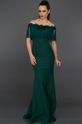 Long Emerald Green Evening Dress C7234