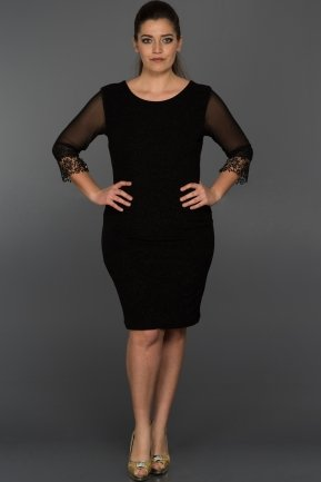 Short Black Oversized Evening Dress ABK018