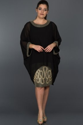 Black Oversized Evening Dress ABK026