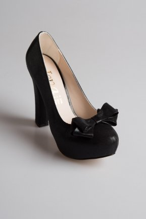 Black Laser Cut Evening Shoes MJ3601