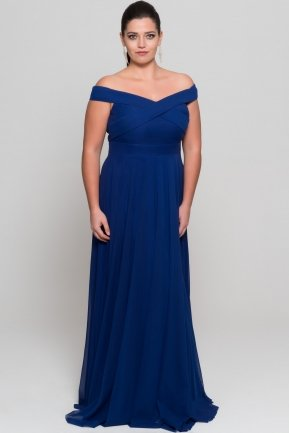 Sax Blue Long Oversized Evening Dress AB1163