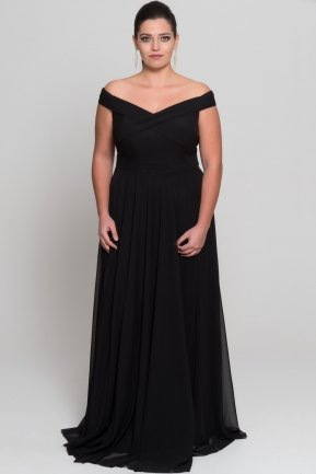 Black Long Oversized Evening Dress AB1163