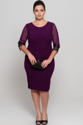 Short Purple Oversized Evening Dress AR36747