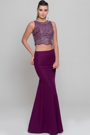 Long Purple Evening Dress C7231