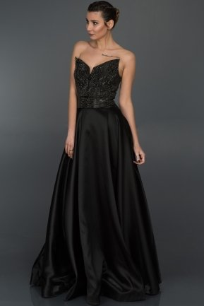 Long Black Sweetheart Evening Dress F4238