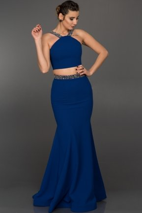 Long Sax Blue Evening Dress ABU015