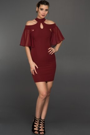 Short Burgundy Evening Dress W7005