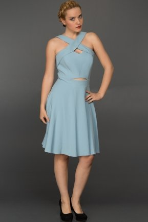 Short Ice Blue Evening Dress W8000