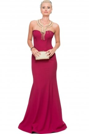 Long Plum Evening Dress C7183