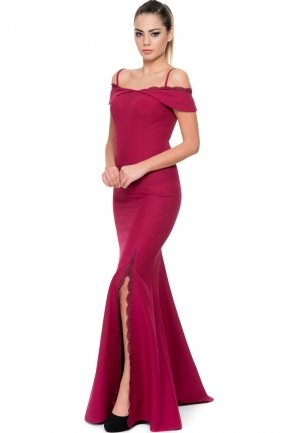 Long Plum Evening Dress C7203