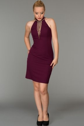 Short Plum Evening Dress DS287