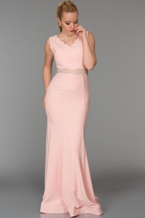 Long Powder Color Evening Dress ABU105