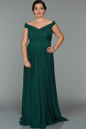 Long Emerald Green Oversized Evening Dress AB1163