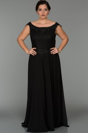 Long Black Oversized Evening Dress ABU280