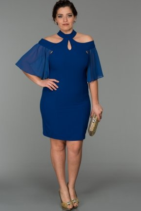 Short Sax Blue Oversized Evening Dress W7005