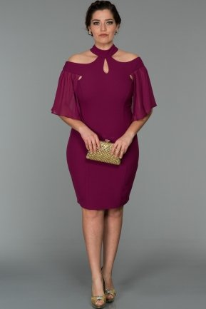 Short Plum Oversized Evening Dress W7005