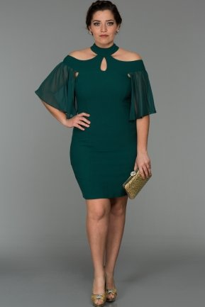 Short Emerald Green Oversized Evening Dress W7005