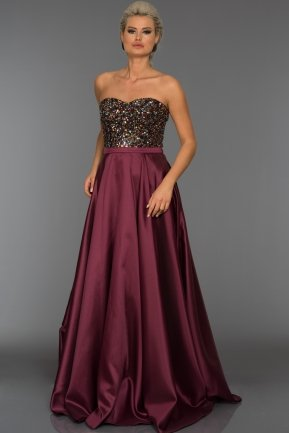 Long Plum Sweetheart Evening Dress C7306