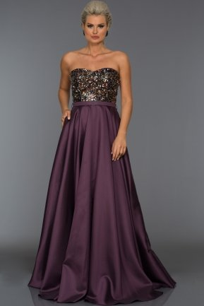 Long Violet Sweetheart Evening Dress C7306