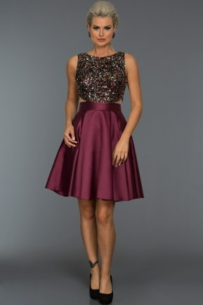 Short Plum Evening Dress C8096