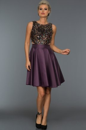 Short Violet Evening Dress C8096