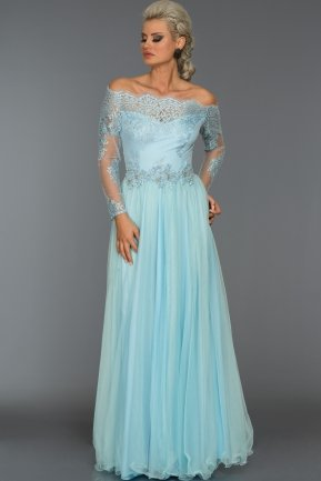 Long Ice Blue Princess Evening Dress AB621
