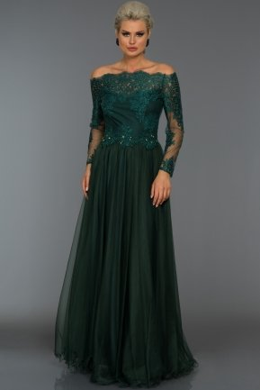 Long Emerald Green Princess Evening Dress AB621