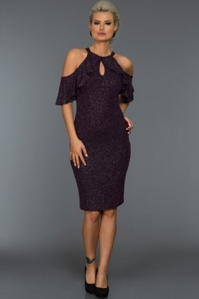Short Plum Evening Dress F7119