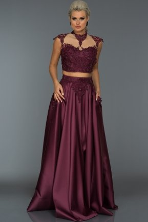 Long Plum Evening Dress S4395