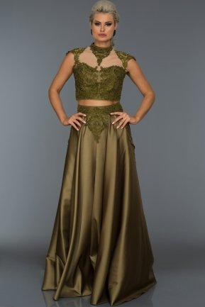 Long Olive Evening Dress S4395