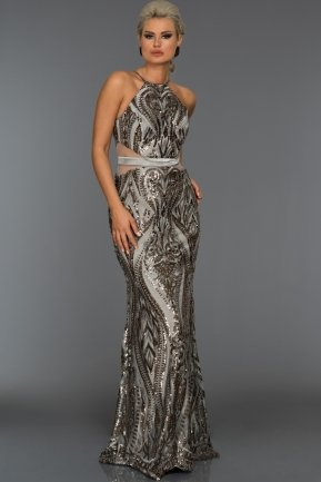 Long Grey Evening Dress AB9199
