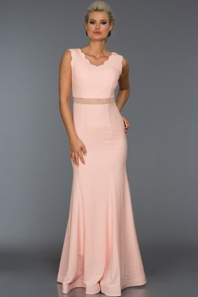 Long Salmon Evening Dress W6001