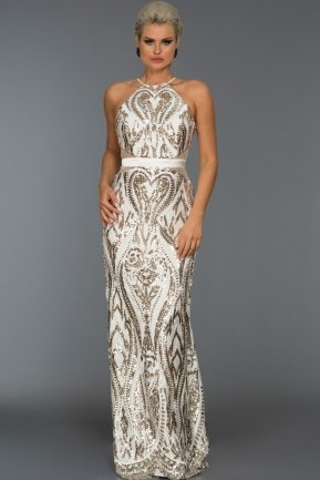 Long Cream Evening Dress AB9199